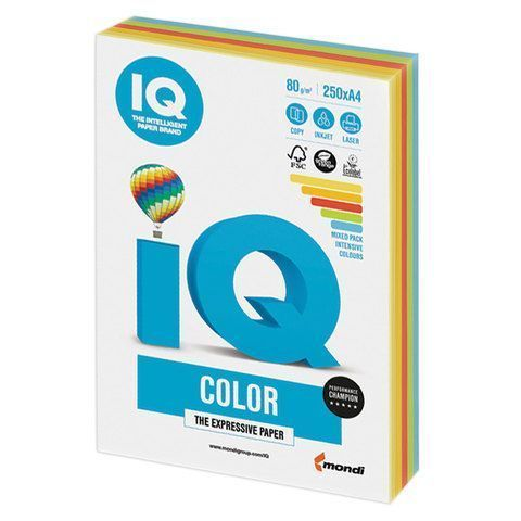 Бумага бумага 'IQ Color Intensive Mixed Packs' А4, 80г/м2, 250л. (5 цветов) (Mondi) RB02
