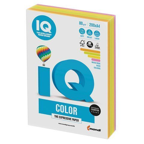 Бумага бумага 'IQ Color Neon Mixed Packs' А4, 80г/м2, 200л. (4 цвета) (Mondi) RB04