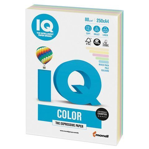 Бумага бумага 'IQ Color Pastell Mixed Packs' А4, 80г/м2, 250л. (5 цветов) ((Mondi) RB01