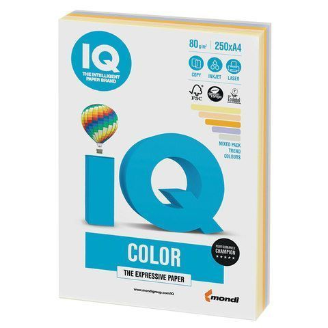 Бумага Бумага 'IQ Color Trend Mixed Packs' А4, 80г/м2, 250л. (5 цветов) (Mondi) RB03