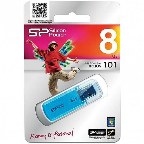 КАНЦ Память SiliconPower USB Flash 8GB USB2.0 Helios 101 голубой (Silicon Power) SP008GBUF2101V1B