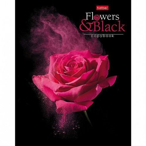 КАНЦ Тетрадь 80л. А5 клетка на скобе -Flower on black- (Хатбер) 80Т5лВ1