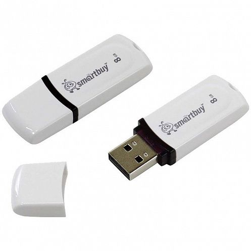 КАНЦ Память Smart Buy USB Flash 8GB Paean белый (Smart Buy) SB8GBPN-W
