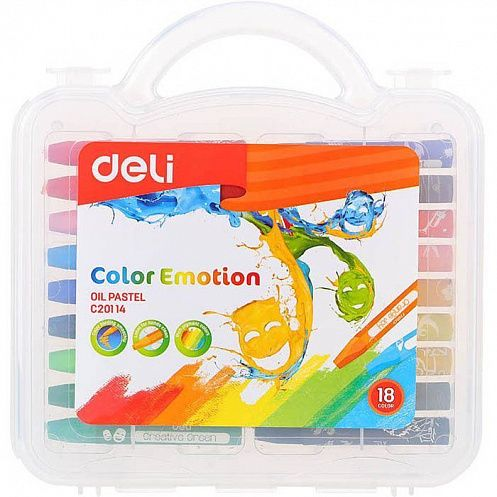 КАНЦ Пастель масляная EC20114 Color Emotion шестигранные 18цв. пл.кор. (Deli) 1045207